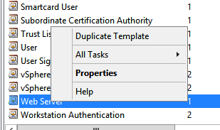 Creating a microsoft certificate authority template for ssl in the certificate template console under template display name right click web server and click duplicate template yelopaper Image collections