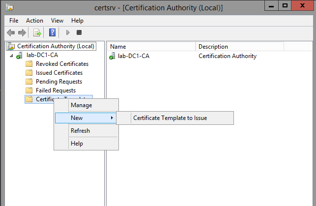 Creating a microsoft certificate authority template for ssl right click certificate templates and click new certificate template to issue yadclub Image collections