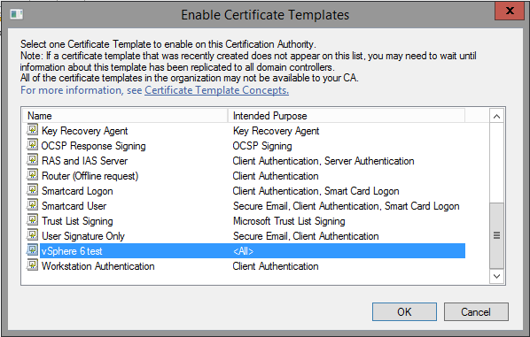 Creating a microsoft certificate authority template for ssl example shown uses vsphere 6 test because vsphere 60 yelopaper Gallery