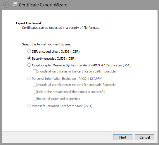 Export cert wizard - select Base 64 encoded