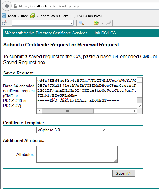 Replacing vcenter 60s ssl certificate submit certificate request to ms ca yelopaper Choice Image